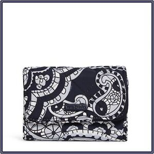 NWT Vera Bradley RFID Riley Compact Wallet Trifold in Deep Night Paisley Neutral