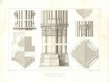 1851 d'architectes français imprimer Church Cathedral Reims Intérieur collumns capital