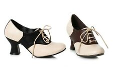 Ellie Shoes 253-PEGGY Women's Black Brown Saddle 40s 50s Vintage Costume Heels