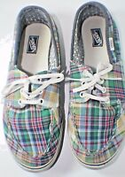 Womens Lace Up Plaid Vans Shoes Size 11 Canvas
