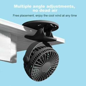 Portable USB Clip-on Fan Mini Desk Table Fan 3 Speeds Rechargeable Cooer Fan