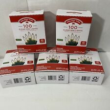 5 Boxes Holiday Time 100 Clear White Mini Lights Green Wire Indoor/Outdoor