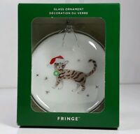 Tabby Cat Santa Hat Fringe Studio Glass Christmas Ornament Silver Snowflake