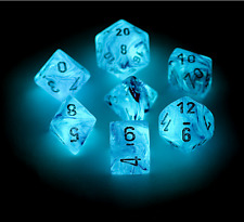 Chessex Dice Set 7pcs Ghostly Glow Pink Silver Gaming Accessories Glow in Dark
