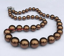 "ROUND AAA 17""11-12mm REAL NATURAL south sea chocolate Brown pearl necklace 14K"