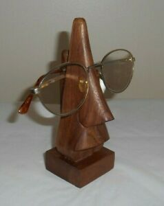 """Wooden Tiki Face Eyeglass Stand Holder 6.5"""" - Glasses Sunglasses not included"""