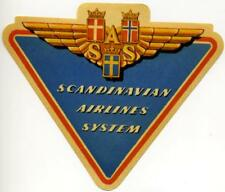 SCANDINAVIAN AIRLINES System / SAS - Old DIE-CUT Airline Luggage Label, 1955