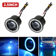 2x 2.5'' Ice Blue Angel Eye Halo Ring Car COB LED Headlight Fog Projector Bulbs