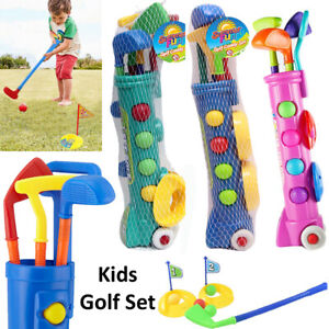 Kids Mini Golf Club Caddy Toys Set with Trolley Children Sports Practice Plastic