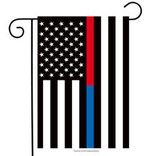 "Thin Blue & Red Line Garden Flag Police Firefighter Patriotic 12.5"" x 18"""