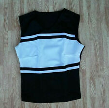 "New Teen Girl Black White Cheerleader Uniform Shell Top 28-31"" Cosplay Anime"