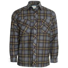Mens Thick Lumberjack Check Button up Padded Quilted Lined Winter Shirt Jacket Charcoal / Yellow M