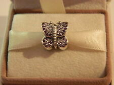 AUTHENTIC PANDORA CHARM SPARKLING BUTTERFLY #791257ACZ HINGED BOX