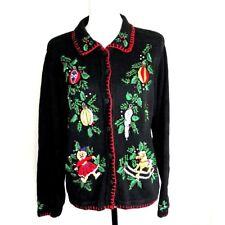 B.P. Design Ladies Beaded Christmas Cardigan Sweater Long Sleeve Size L