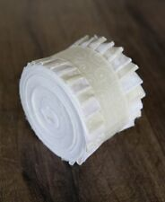 2.5 inch White On Natural Jelly Roll 100% cotton fabric quilting strips