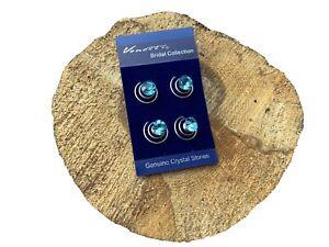 NEW Pack 4 Aqua Blue Crystal Diamanté Hair Gem Twists Christmas Accessories