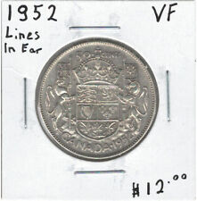 Canada 1952 Silver 50 Cents VF - Lines in Kings Ear