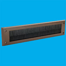 1x Brown PVC Door Letter Box Draught Excluder Brush Seal, 338 x 78 mm Letterbox