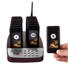 New 999CH Restaurant Wireless Paging Queuing System 16 Call Coaster Pagers 24mA