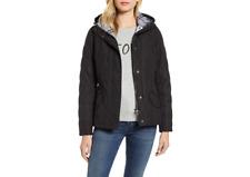 NWT Women's Barbour Millfire Diamond-Quilted Jacket Black w/Grey Tartan Size 14