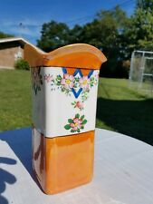 Vintage Fire king orange with hand painted flowers vase. 8 in tall 4 in square