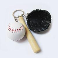 Mini baseball keychain,baseball and glove key ring,baseball bat key chain