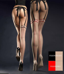 Fiore Madame Retro Pin-up 50's Style 20 Den Contrasting Back Seam Stockings