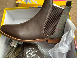 Joules Womens Westbourne Premium Chelsea Leather Boot GREEN TWEED Size UK 5 New