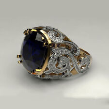 Fine Jewelry 14 Kt Real Solid Yellow Gold Blue CZ Men'S Vintage Ring Size 10,11