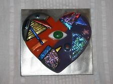 Art By Aly Winningham Metal Dichroic Glass Heart and Eye Mosaic Wall Hanging