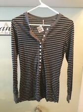 Pete Made in America Kyla Mid Black & Gray Striped 3/4 Sleeve Button Shirt NWT
