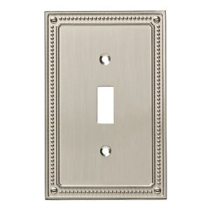 W35058-SN Satin Nickel Classic Beaded Single Switch Cover Plate