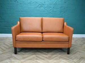 Mid Century Retro Danish Tan Leather Two Seat Mogensen Style Sofa Settee 1970s