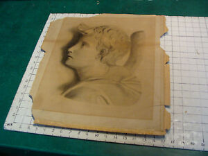 vintage Drawing: early 1900's--young boy, mounted on board, as shown