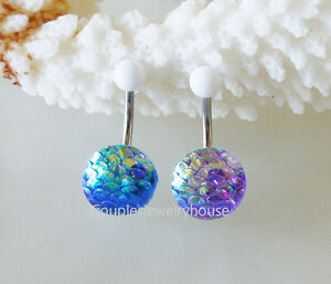 2pcs New Mermaid Scales belly button ring Navel Piercing Body Jewelry