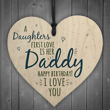 Love Daddy Dad Wooden Heart Happy Birthday Card Gift Son Daughter Baby Thank You