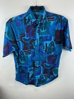 Panhandle Slim Mens Teal Aztec Print Short Sleeve Button Front Shirt Size Medium