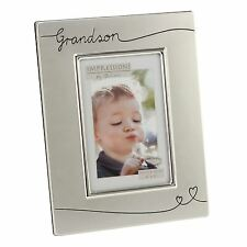 GRANDSON BRUSHED SILVER PHOTO FRAME 6X4 PORTRAIT WITH HEARTS