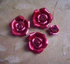 8  aluminum/metal rose flower beads,  red, 28mm