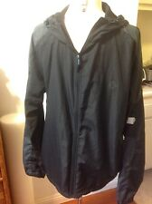 Topman Topshop Polyester Lightweight Windbreaker Hooded Jacket Size Large Black