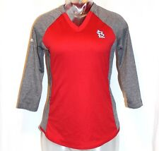 St Louis Cardinals Majestic Raglan V Neck T Shirt Gray & Red Size Small NWT