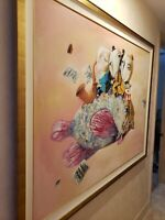"ALEXANDER KANCHIK ""FLOATING FISH"" OIL ON CANVAS ORIGINAL PAINTING 1993 70""X40"""
