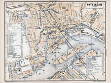 Rotterdam 1901 kl. orig. plattegrond + frans reisgids (12 p.) Feijenoord Maasst.