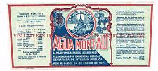 V2 1920s Spain Agua Mont-Alt Medicinal Mineral Water Label Stephens Collection