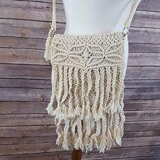 Handmade White Embroidered Crochet Fringe Tassel Festival Boho Crossbody Purse