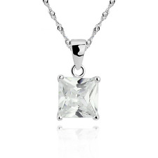 STERLING SILVER CUBIC ZIRCONIA PRINCESS SQUARE Pendant Necklace with Gift Box