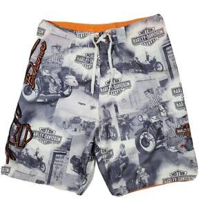Mens size 32 Harley Davidson All Over Print board shorts
