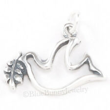 PEACE DOVE with Olive Branch Christmas Charm Pendant 925 STERLING SILVER Jewelry