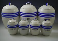 ART DECO 1930's JAPAN SET OF 7 KITCHEN CANISTERS BLUE BANDS BARREL MORIYAMA