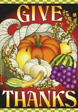 """New listing Give Thanks 28""""x40"""" House Flag By Jeremiah Junction Cornucopia Fall"""
